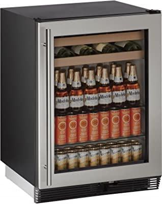 "U-Line U1024BEVS00B 5.4 cu. ft. Capacity 24"" 1000 Series Freestanding or Built In Full Size Beverage Center in Stainless Steel"