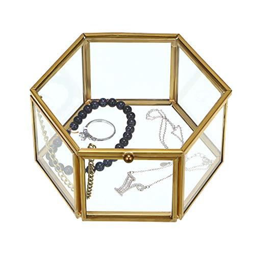 Hipiwe Vintage Glass Jewelry Box - Golden Hexagonal Jewelry Display Organizer Keepsake Box Home Decorative Box Case for Storage Trinket Ring Earring Chest (Large) ()