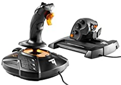 T.16000M fcs (flight control system) flight stick featuring H.e.A.R.T magnetic precision technology + twcs (Thrust master weapon control system) throttle featuring s.M.A.R.T technology