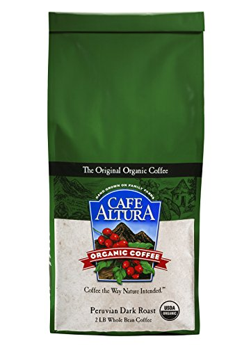 Cafe Altura Entire Bean Organic Coffee, Peruvian Dark Roast, 2 Pound