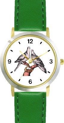 Lovebirds or Love Birds - Love & Friendship Theme - WATCHBUDDY DELUXE TWO-TONE THEME WATCH - Arabic Numbers - Green Leather Strap-Women's Size-Small by WatchBuddy