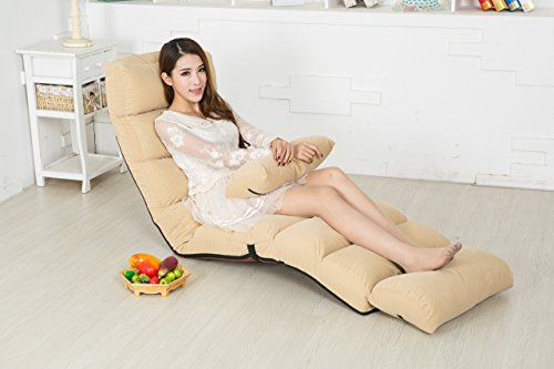 e-joy Relaxing Bean Bag Folding Sofa, Futon Chair and Lounge, Tan
