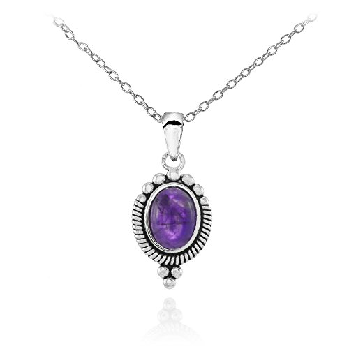 - Sterling Silver Cabochon Amethyst Oval Oxidized Vintage Necklace