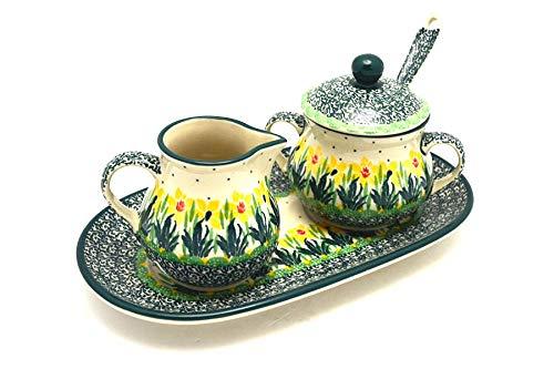 (Polish Pottery Cream & Sugar Set with Sugar Spoon - Daffodil)