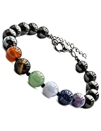 Wallystone Gems Shungite 7 Chakra Bracelet with Natural Shungites and Gemstones Beads Adjustable Lobster Clasp