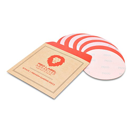 5 Inch 600 Grit High Performance Hook and Loop Wet/Dry Auto Body Film Sanding Discs, 10-Pack.