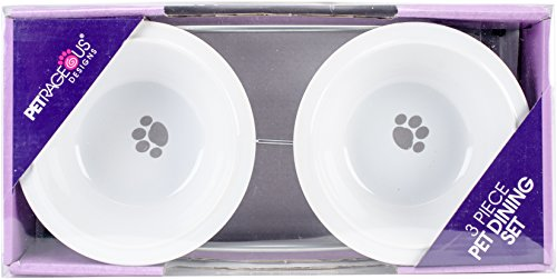 (PetRageous 14047 Buddy's Best 2 Cups Each Silver Diner with Two White Stoneware Bowls)
