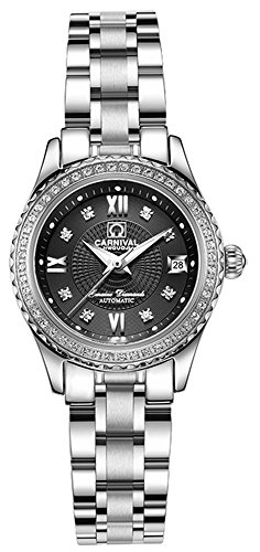 CARNIVAL Women's Automatic Mechanical Bezel Inlay Rhinestones Stainless Steel Band Dress Chic Watch (Black)