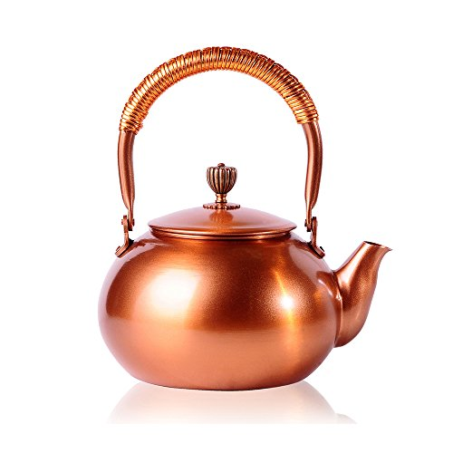 Tea Kettle CHANMOL 50 Ounce BPA Free Red Copper Tea Pot Stove Top Coil Handle ,Classic Espresso Coffee Pouring Pot for Home Kitchen,Hotel,Restaurant and Office,Gold