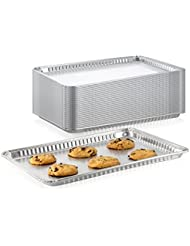 "Pack of 15 Aluminum Square Baking Pans - Disposable Foil Cooking Tins - Ideal for Brownie, Coffee Cakes, Side Dishes – Use as Portable Food Storage Container - Standard Size 16 x 11-¼ x 3/4"" Inch"