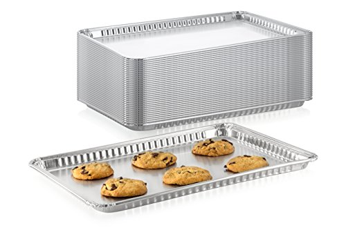 Pack of 10 Durable Aluminum -1/2 Half Size Sheet Baking Pan| Super Strong Disposable Foil Baking Tins | Ideal for Cakes, Cookies, Biscuits Pastries, Pizza and More | Size: 17-5/8