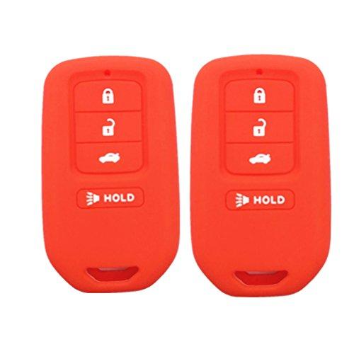 2pcs mjkey nuevo rojo hule de silicona 4botones Smart Remote Key Fob piel cubierta soporte chamarra Protector de visualización para Honda Accord Civic CR-V CR-Z FR-V HR-V Pilot acj932hk1210a