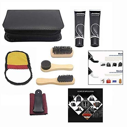LHKJ Kit d'entretien de la Chaussure, Kit d'entretien de Cuir Portable. Kit de Voyage pour Boîte de Cylindre en Cuir… 1