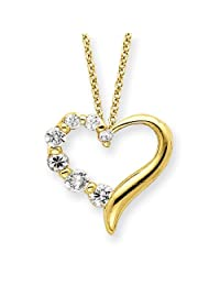 IceCarats® Designer Jewelry Sterling Silver Vermeil Cz Heart Journey Necklace In 18 Inch
