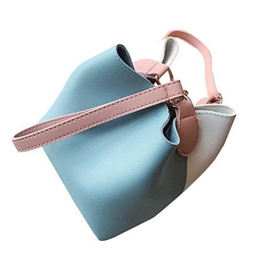 en Bleu à main Large Seau Mode Sac Bandoulière à Cuir Féminine Sac ESAILQ Patchwork épaule Ex6nqTPw