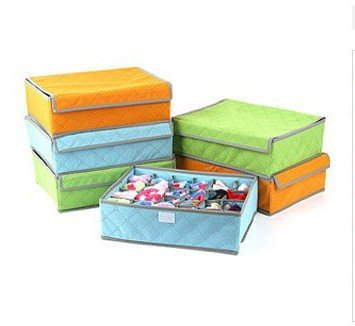 PAffy Foldable Non Smell Storage Box Organiser for Tie Shoes Socks Scarfs Lingerie Bra with Cover  Orange, PAffy WO Setof3 Orange MF    Set of 3