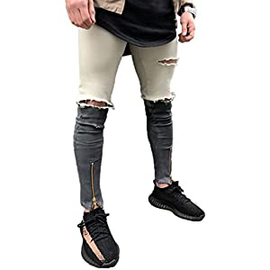 XARAZA Men's Skinny Ripped Destroyed Slim Fit Jeans Denim Pants with Zipper and Broken Holes
