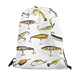 Fishing Decor Nice Drawstring Bag,Fishing Tackle Bait for Spearing Trapping Catching Aquatic Animals Molluscs Design For traveling,17.7'L inches x 14.1'W inches