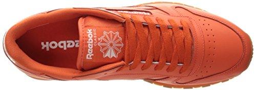 Reebok Hommes Cl Lthr Gomme Cu Mode Sneaker Rouillé Orange / Blanc Gomme