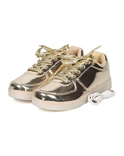 Alrisco Kvinnor Lyser Avgift Ledde Sneaker - Casual, Party, Festival - Blinkande Lampor Gymnastiksko - Gf37 Av Guld