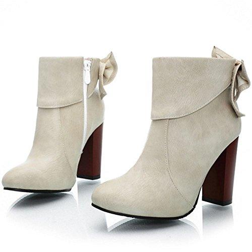 TAOFFEN Women Fashion Block Heel Dress Boots Zipper Bootie With Sweet Bow Beige 4pnjEib