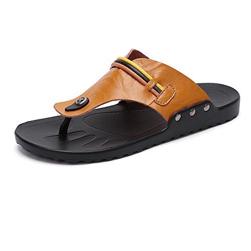 Planas de la Antideslizante de Orange Zapatos Summber Hombres los de de Zapatos Cuero de Correa Casual de Playa de Sandalias PU Suaves Chandal OqU6qS