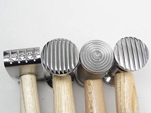 4 Double-Sided Metal Jewelry Texture Chasing Repousse Hammer 8 Patterns by UJ Ramelson Co (Image #1)