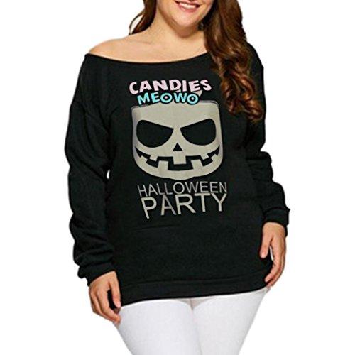 Halloween,Gillberry Women O Neck Print Long Sleeve Off Shoulder Shirt Blouse Hoodies (Black, XL)