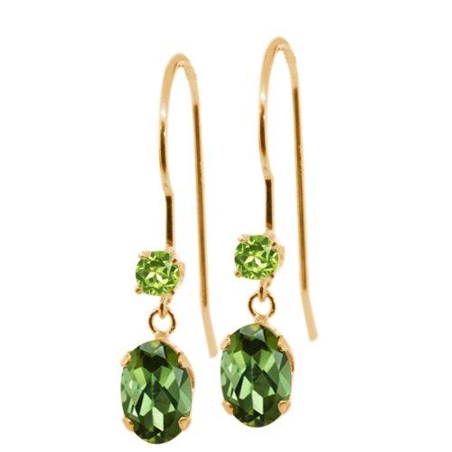 0.94 Ct Oval Green Tourmaline Green Peridot 14K Yellow Gold Earrings (Earrings Date Tourmaline)