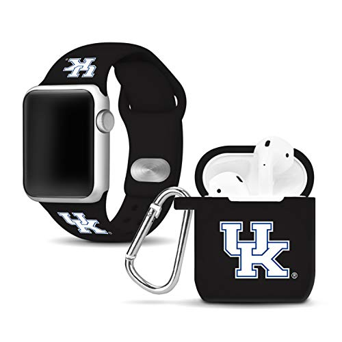 Wildcats Watch - Affinity Bands Kentucky Wildcats Silicone Watch Band and Case Cover Combo Compatible with Apple Watch and AirPod Case