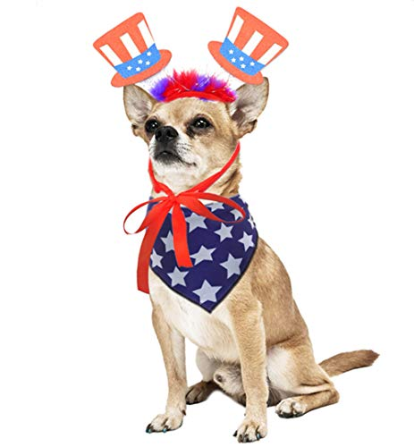 4th of July Dog Costume Set,Dog Anmerican Flag Bandana and Patriotic Headband for Dogs -