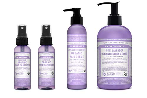 Dr. Bronner's 4-Piece Organic Lavender Gift Set. (2) 2 oz. Lavender Hand Sanitizer Spray, (1) 6 oz. Lavender Hair Conditioning & Styling Crème, (1) 12 oz. 4-in-1 Lavender Sugar Soap w/Pump ()