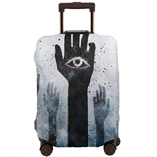 (KOyuoeUj Hamsa Eye of Wisdom Hand Peep Travel Suitcase Protector Elastic Protective Washable Luggage Cover with Concealed Zipper Suitable for 18-32 Inch)