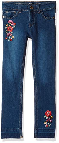 XOXO Girls' Big Stretch Skinny Jean, Dark wash Embroidered, 16
