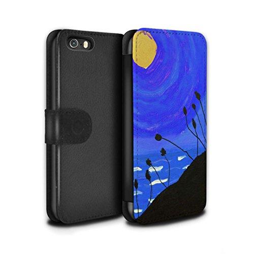 Stuff4 Coque/Etui/Housse Cuir PU Case/Cover pour Apple iPhone SE / Bleu Marine Design / Peinture Huile Coucher Collection