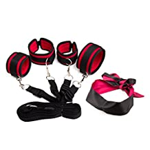 Medical Grade Under Bed Restraint System Kit with Adjustable Handcuffs and Ankle Cuffs Bonus Blindfold