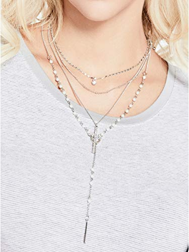 16 Toggle Necklace Link (GUESS Factory Women's Silver-Tone Cross Necklace Set)