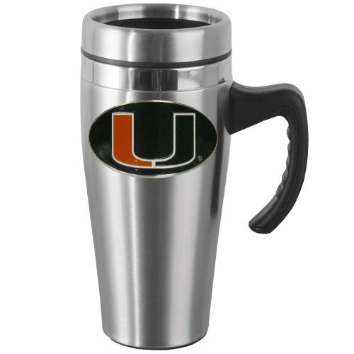NCAA Miami Hurricanes Steel Travel Mug with Handle ()