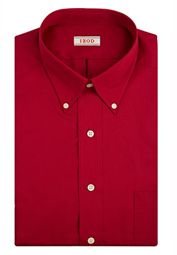 IZOD Men's Twill Regular Fit Solid Button Down Collar Dress Shirt, Crimson, 16.5