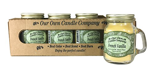 (Our Own Candle Company French Vanilla Scented Mini Mason Jar Candle by, 3.5 Ounce (4 Pack))