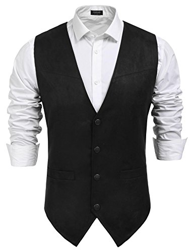 Coofandy Men's Slim Leather Vest Suede Vest Single-Breasted Vest, Black, Medium ()
