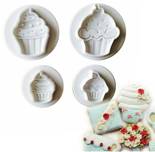 Iumer Cake Plunger 1 Set Cupcake Plastic Cookie Cutter Mould Cake Decorating Mold