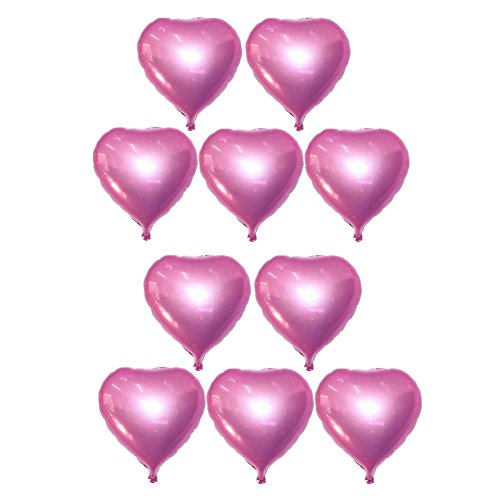 10pcs Heart Balloons Helium Foil Balloons for Birthday Wedding Bridal Valentine's Day Christmas Music Festival Party Decoration (Pearl Pink)