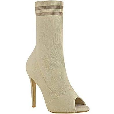 Fashion Thirsty Mujer Corbon Tacón Alto Calcetines Botas Punto Elástico Deporte Luxe Talla - Color Carne Punto, 37: Amazon.es: Zapatos y complementos