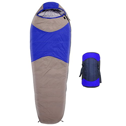 Cheap 3 Season Duck Down Mummy Sleeping Bag with Compression Sack, 87 X 32 inch (L x W), Temperature Limit 14° F, Perfect for Camping, Hiking, Traveling, Backpacking and Outdoor Activities