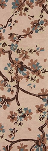 Rug Source One-of-A-Kind New Agra All-Over Floral Hand-Tufted 3x8 Beige Wool Oriental Runner Rug (7' 10
