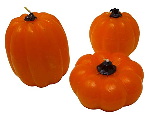 J&J's ToyScape Harvest Pumpkin Candles (Pack of 3) Halloween Fall Fragrances, Table Decorations ()