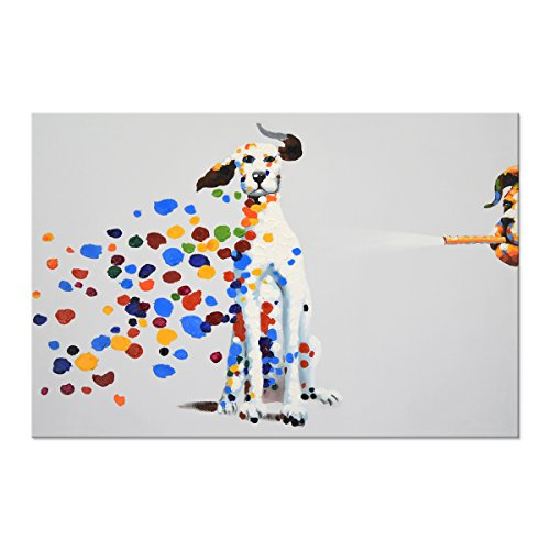 SEVEN WALL ARTS - 100% Hand Painted Oil Painting Cute Animal Modern Home Decoration Decorative Art Painting for Home Decor 24x 36 Inch (24x36 Inch, Dalmatian Puppy Dogs) by SEVEN WALL ARTS