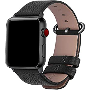 Fullmosa Compatible Apple Watch Strap 42mm 44mm 38mm 40mm Calf Leather iWatch Band/Strap for Apple Watch Series 5 Series 4 Series 3 Series 2 Series 1, 44mm 42mm Black+Gunmetal Buckle( WATCH NOT INCLUDED)