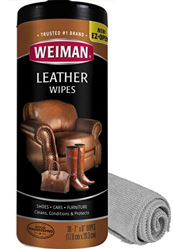Weiman Leather Cleaner Kit Leather Wipes (30 Count) and Microfiber Cloth - Clean and Condition Car Seats and Interior, Shoes, Couches and Other Leather Surfaces